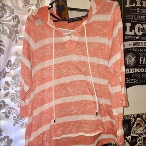 Tops - Sheer high/low peach shirt